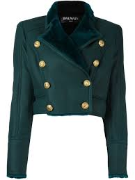 green lamb skin and double ted cropped jacket from balmain women leather jackets balmain camo