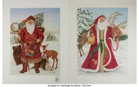 Nadine Harper, artist. Pair of Color Lithograph Santa Claus Prints.   Lot  #93196   Heritage Auctions