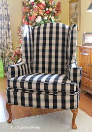 slipcover in black and natural buffalo check for a clic wingback