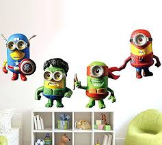 minion wall decals minions deable me removable art mural vinyl waterproof wall stickers kids room decor minion wall decals