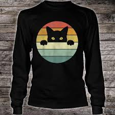 Cat Shirt Design Retro Vintage Sunset Hidden Black Cat Design Cat Shirt
