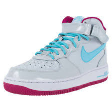 nike girls basketball shoes. nike air force 1 mid gs girls basketball shoes platinum blue fuchsia 518218 005 nike girls basketball shoes e