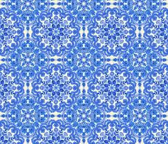Blue And White China Pattern Stunning Cobalt Blue China White Folk Art Pattern Fabric Micklyn