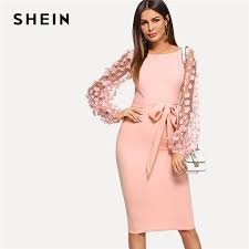 SHEIN Pink Elegant Party <b>Flower Applique</b> Contrast Mesh Sleeve ...