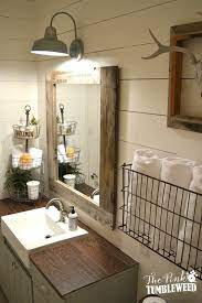 Rustic modern brown blue farmhouse bathroom decor, daisy flower, vintage bathtub, country bath wall art matted picture. 15 Farmhouse Style Bathrooms Full Of Rustic Charm Making It In The Mountains Bathroom Farmhouse Style Bathroom Styling Bathroom Decor