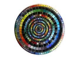 big mosaic bird bath black with a contrasting rainbow design
