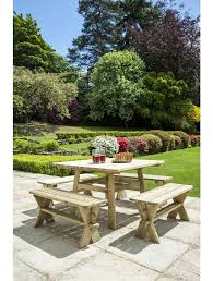 alexander rose square picnic table with 4 side benches 8 seater