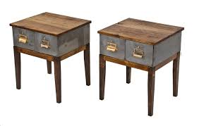 vintage industrial simmons metal side table. Pair Of Repurposed Vintage American Industrial Four-legged Low-lying Side Tables With Sliding Drawers And Newly Added Hickory Wood Tops Simmons Metal Table R