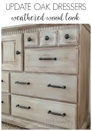 weathered wood dresser makeover with new hardware