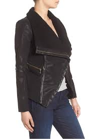 classic guess black faux leather moto jacket with faux fur trim in women