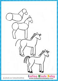 Small Picture Horse step by step drawing for kids Indian hindu baby
