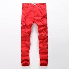 Designer Pants 2019 Wholesale 2017 New Fashion Men Ripped Designer Jeans Pants Slim Fit Knee Zipper Jeans Men Club Wear Bright Color Denim Jogger From H294364731