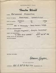 Katharine Houghton Autograph Resume Signed Autographs
