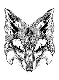 Small Picture fox head Animals Coloring pages for adults JustColornet