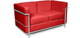 bright coloured furniture. Bright Coloured Corbusier Style 2 Seater LC2 Faux Leather Red Furniture