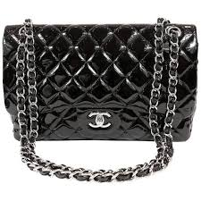 chanel black patent leather jumbo classic double flap bag for