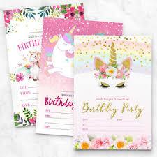 Kids Invitations 10 X Unicorn Birthday Party Invitations Invites Girl Children Kids