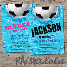 Soccer Party Invitation Template Soccer Pool Party Birthday Invitation Printable Template