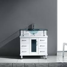36 inch bathroom vanity with top. Aqua Inch Bathroom Vanity White Finish Clear Glass Top Throughout 36 With Ideas Offset Sink E