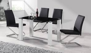 High Gloss Dining Table Black Glass White High Gloss Dining Table 4 Chairs Homegenies