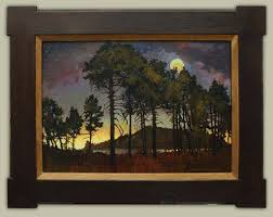jan al original oil painting on birch board antique oak craftsman frame moonlight