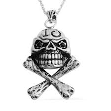 black austrian crystal black oxidized stainless steel skull pendant with chain 24 in tgw 0 80 cts pendants jewelry lc