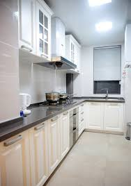compact l shaped kitchen cabinets and blinds
