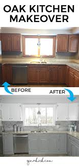 Painting Over Oak Kitchen Cabinets Our Oak Kitchen Makeover Welcome Home Grey And Cabinets