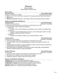 Template Activities Resume Template 51 Images Example
