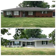 painting exterior brick before and after painted exterior ranch style house before and after added onto painting exterior brick before and after