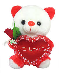 tickles white cute teddy with i love you heart and beautiful rose stuffed soft toy 25