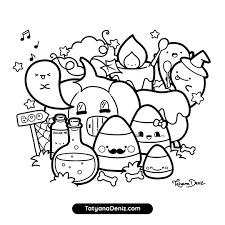 There are 20+ different pages to choose from. Halloween Coloring Page Kawaii Doodle Style Free Printable Pdf