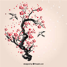 hand painted cherry tree free vector