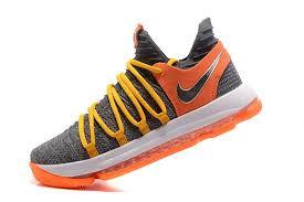 nike basketball shoes 2017. nike kd 10 grey orange yellow basketball shoes for sale-4 2017