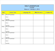 Lesson Plans Blank Template Weekly Lesson Plan For Preschool Creative Curriculum Toddler
