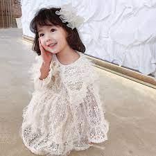Đầm Tay Dài Phối Ren Phong Cách Hàn Quốc Thời Trang Xuân Thu Hàng Mới Dành  Cho Bé Gái 2021 chính hãng