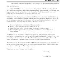 Film Production Cover Letter Cover Letter For Film Internship