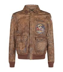 polo ralph lauren leather er jacket in brown