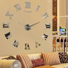 2016 modern diy interior roman numeral scales wall clock 3d mirror design ideas of mirror wall