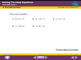 solving two step equations pre algebra lesson 7 1 solve each equation