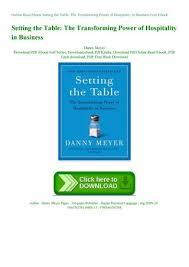 read ebook setting the table