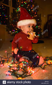 Baby Pics With Christmas Lights Seven Month Old Baby Boy With Christmas Lights And Wearing