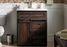 reclaimed barnwood barn door linen closet bathroom furniture