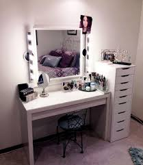 attractive modern makeup vanity table gallery of white dressing with drawers ikea rectangle lighted wall mounted mirror next to na