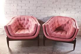 vintage velvet chair. Plain Velvet Pair 1960s Vintage Three Legged Tufted Tub Chair Pink Velvet Throughout
