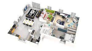 Plan Maison Plain Pied 4 Chambres 3d