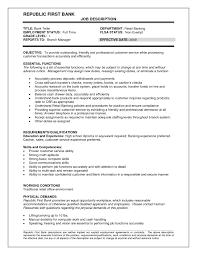 Resume Job Description For A Bank Teller Resume For Study