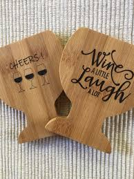 wine glass coasters wine coasters coasters bamboo coasters drink coasters entertaining wine gifts hostess gifts housewarming gifts