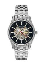 men s rotary watches rotary men s skeleton bracelet watch stainless steel kinetic from argos on
