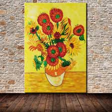 pure hand painted flower oil painting on canvas vincent van gogh sunflowers paintings modern home